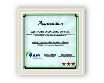Highly Commendable Supplier (2014-2015)